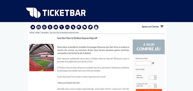 Ticketbar para ingressos para San Siro e Ônibus Hop on Hop off em Milão