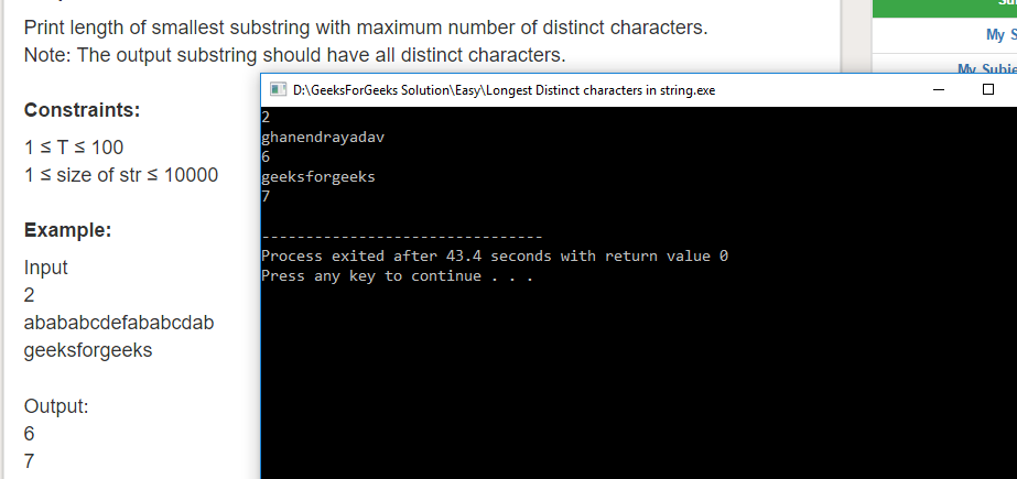 "Geeksforgeeks Solution For "" Longest Distinct characters in string """