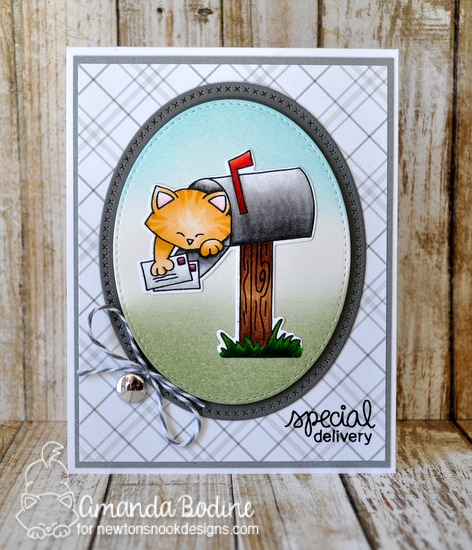Cat in Mailbox Card by Amanda Bodine | Newton's Happy Mail stamp set by Newton's Nook Designs #newtonsnook #happymail