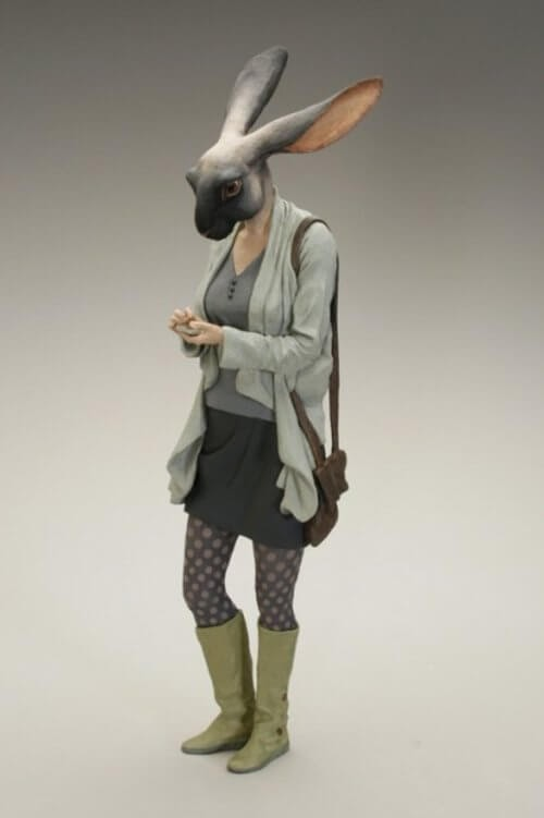 07-Hare-Alessandro-Gallo-Clay-Sculptures-of-Human-Animal-Hybrids-www-designstack-co