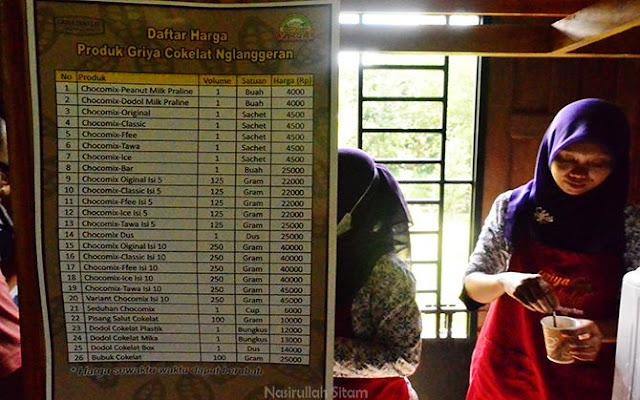 Daftar harga coklat di Griya Cokelat Nglanggeran