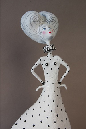 Kusama Black & White IV por Gustavo Ramírez Cruz | imagenes de obras de arte contemporaneo bonitas, esculturas chidas, cosas lindas, papel mache, muñecas, cool stuff, art pictures