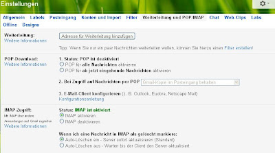 Google-Mail - Einstellungen IMAP vs POP3