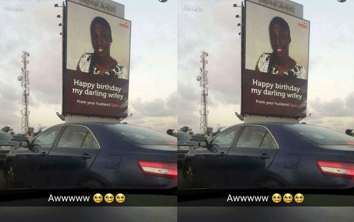 Romantic Lagos man sends birthday wishes to wife on public billboard