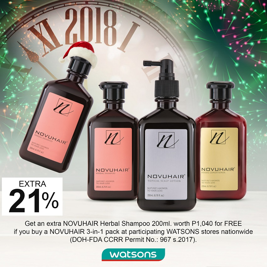 Watsons Philippines NOVUHAIR Christmas & Year End Promo ad - Press Release at www.TheGracefulMist.com - Beauty, Books, Fashion, Health, Life, Lifestyle, Style, and Travel Blog - Website - Hair Products for Hair Falls, Thinning, etc.- Novuhair Official Holiday - Christmas - 2018 - New Year Promos - Answer to Hair Problems - Novuhair Products - Filipino - Filipina - Blogger - Writer