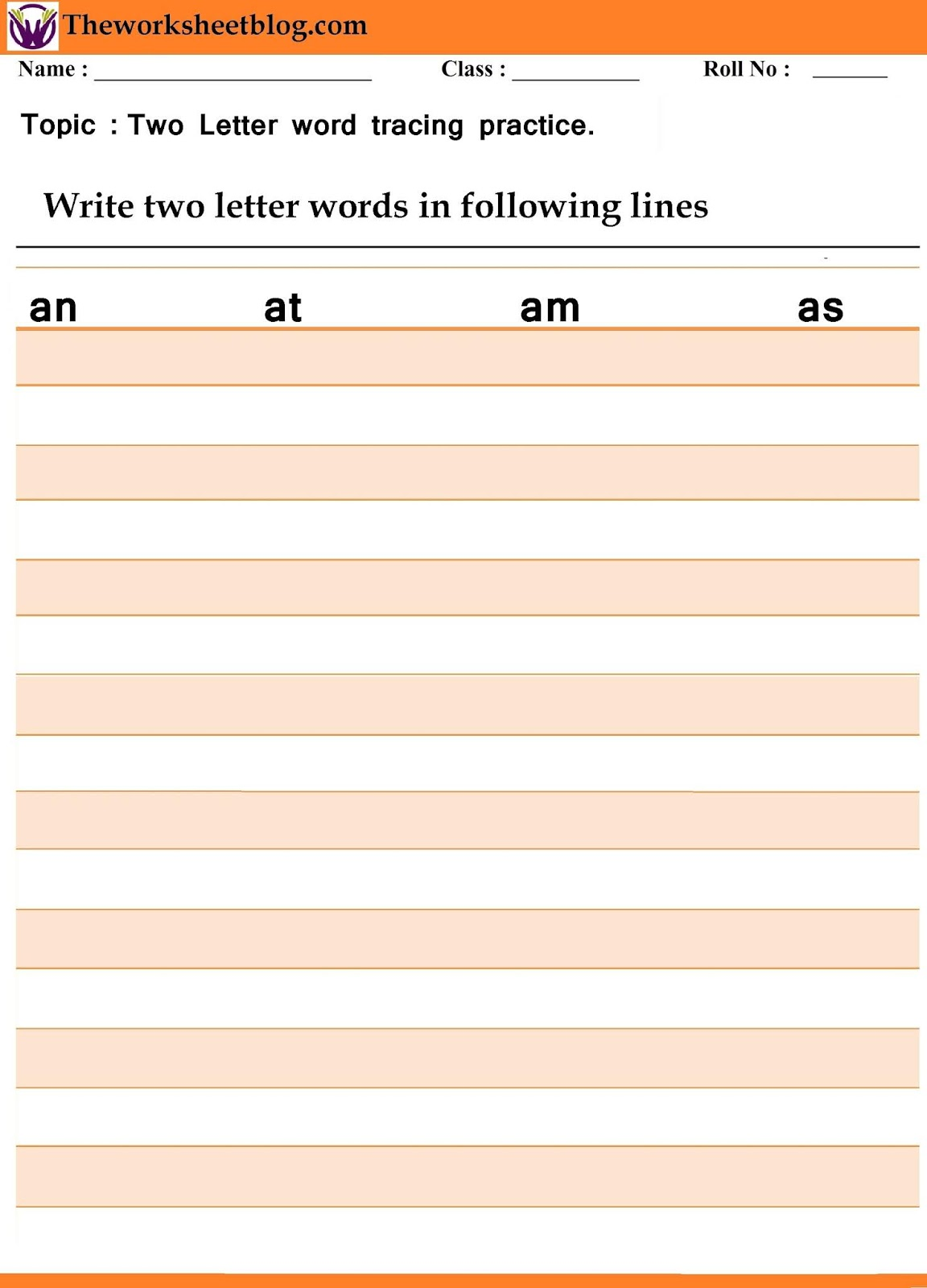 Two Letter Words Worksheets In English
