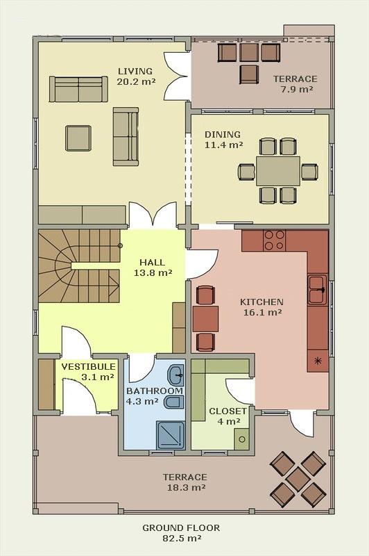 Planos y fachadas de casa de vacaciones de dos plantas for Casa de planta baja