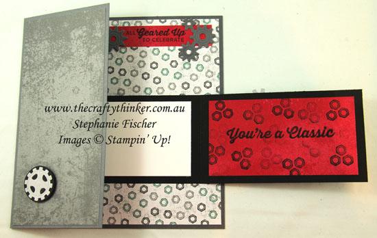 #thecraftythinker  #stampinup  #masculinecard #funfold  #classicgarage  #crazycraftersbloghop #gearedupgarage , masculine card, Classic Garage, Geared Up Garage, Garage Gears, Stampin' Up Australia Demonstrator, Stephanie Fischer, Sydney NSW