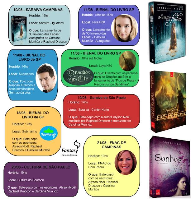 Eventos: Agenda da Editora Fantasy - Casa da Palavra na Bienal do Livro de SP. 6