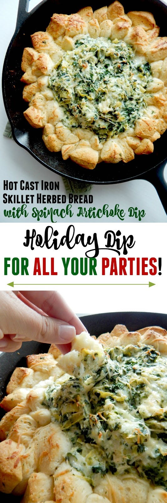 Hot Cast Iron Skillet Herbed Bread with Spinach Artichoke Dip...the #1 holiday appetizer this season!  Bake it off at home and take it to your families Christmas, staff party or any holiday event. (sweetandsavoryfood.com)