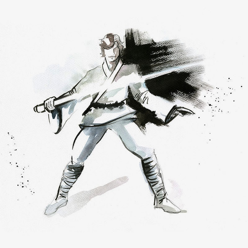 06-Luke-Skywalker-Mark-Hamill-Clémentine-Campardou-Blule-Star-Wars-IV-V-VI-Watercolors-www-designstack-co