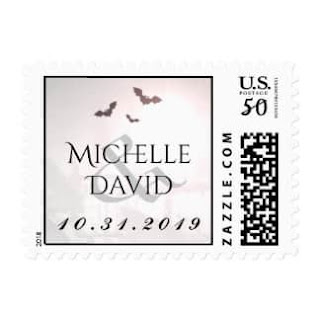 Gothic Bats Custom Names Wedding Postage