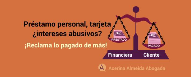 Crédito personal, intereses usurarios
