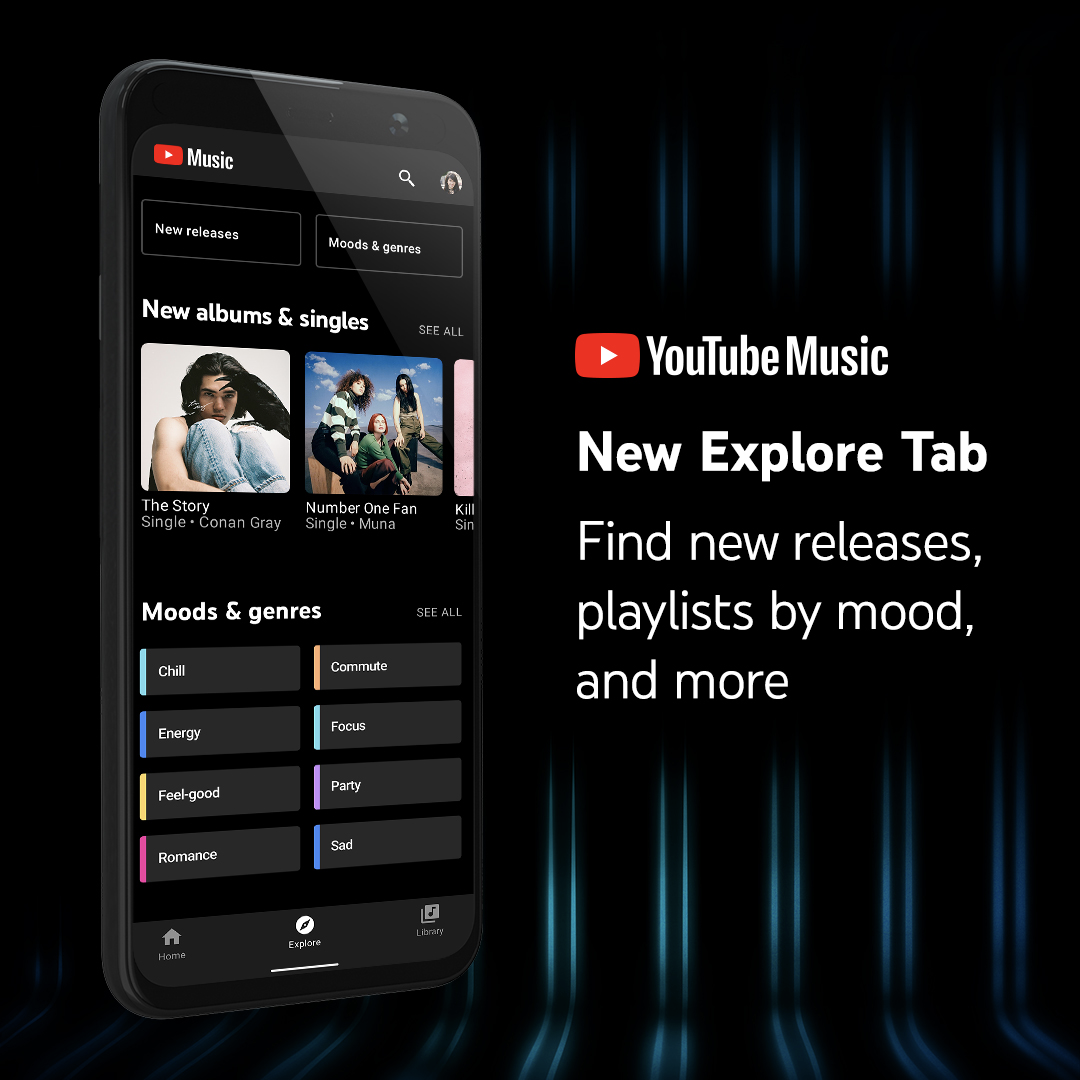 New Explore tab on YouTube Music mobile app