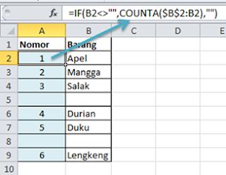 Contoh Rumus Excel Nomor Urut Sel Kosong Tidak Terhitung
