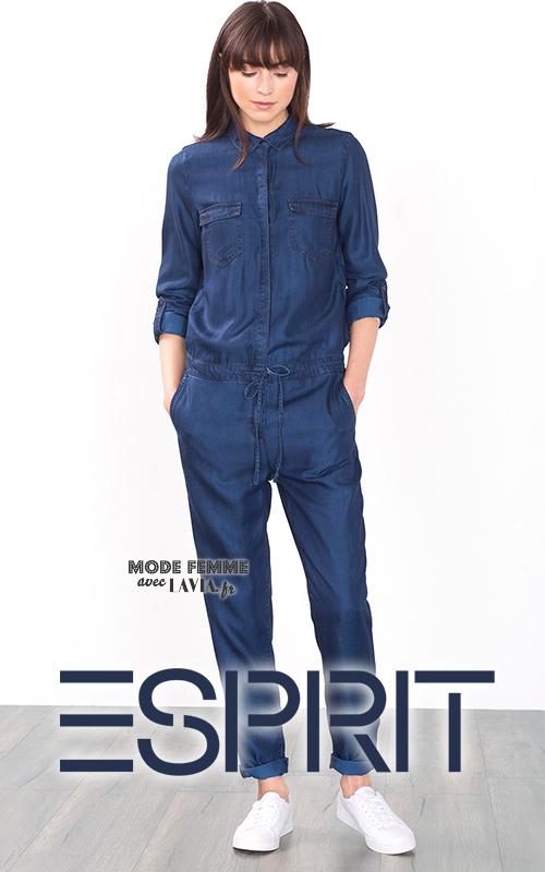 Combinaison pantalon femme jean bleu ESPRIT