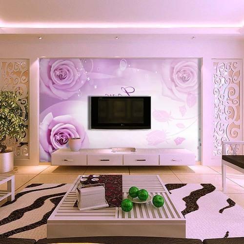 Meuble pour tv 2017 platre et d coration for Wallpaper for living room india