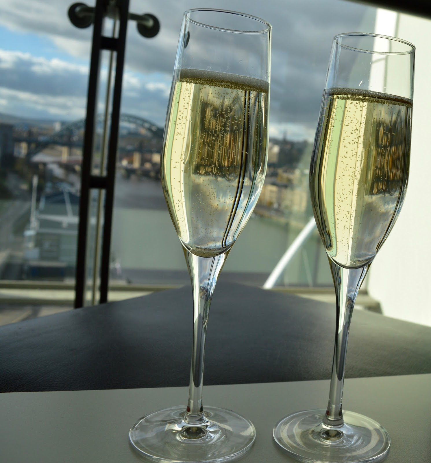 Champagne with a view of the Tyne Bridge in the bar at Six, Baltic Newcastle Gateshead