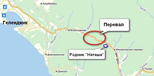 Родник Наташа, карта