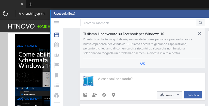 Facebook (Beta) per Windows 10