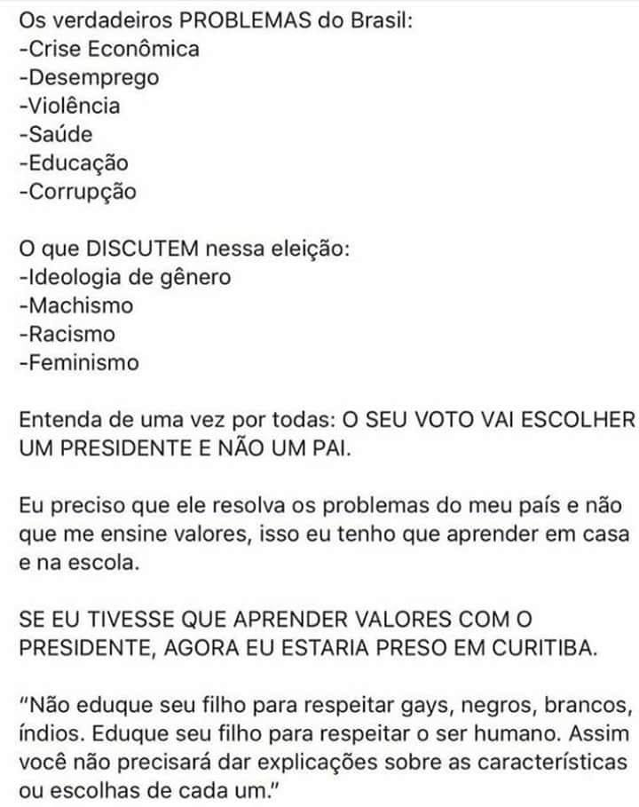 Os verdadeiros PROBLEMAS do Brasil e o que se discutem nessa eleição