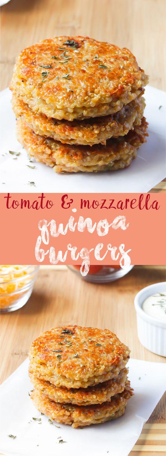 Quinoa Veggie Burgers (Sun-dried Tomato And Mozzarella) #quinoa #veggies #veggieburger #burger #tomato #mozzarella #vegetarianrecipes