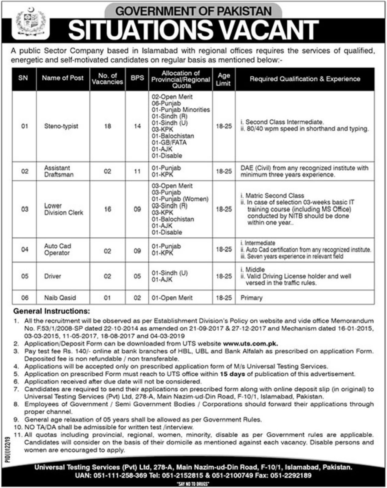 41+Vacancy in Public Sector Organization Jobs July 2019