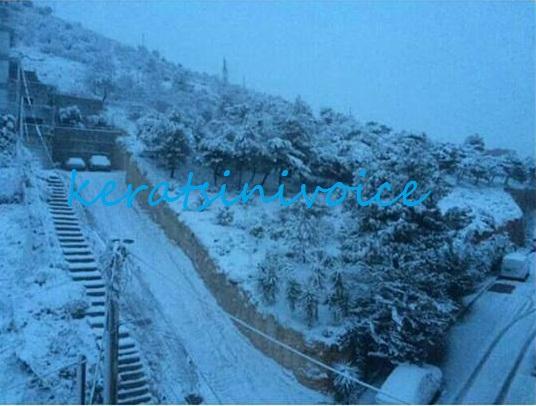 χιόνια στο Κερατσίνι