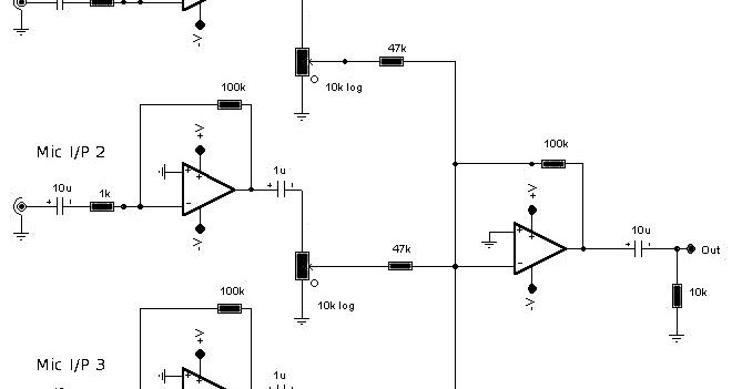 supply summing amplifier for audio mixer circuit schematic diagram