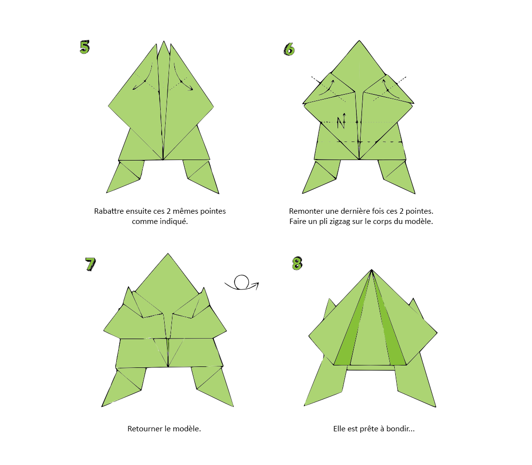 tuto origami grenouille. Black Bedroom Furniture Sets. Home Design Ideas