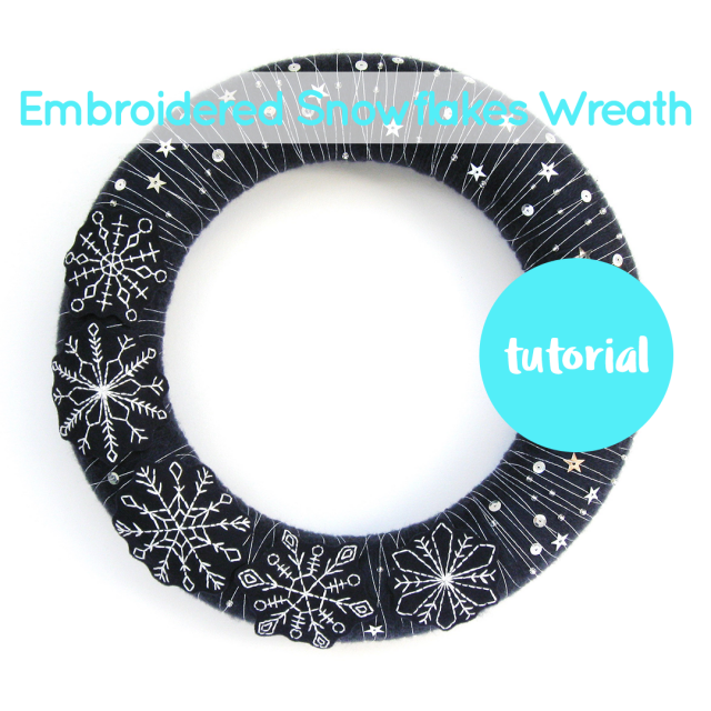 Yarn Wrapped Wreath with Embroidered Snowflakes