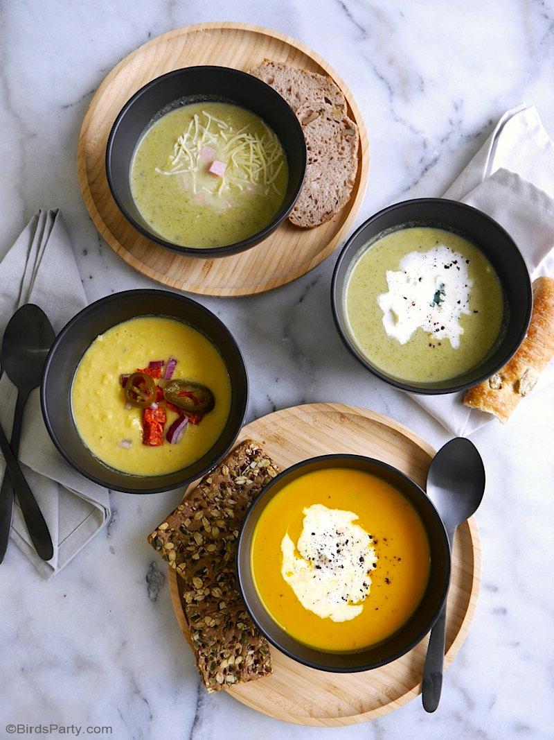 3 recettes de soupe de légumes d'hiver - délicieuses, rapides et faciles à préparer, et parfaites pour un dîner ou un bar à soupe en hiver! by BirdsParty.com @birdsparty #recette #soupe #vegetarienne #recettelegumes #recettesaine #recettevegetarienne