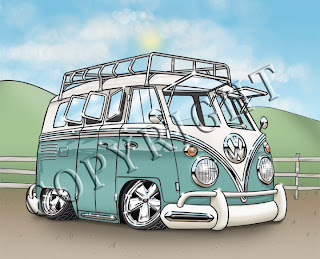 "VW Bus w/ Rack - Art Print (8""x10"" or 5""x7"")"