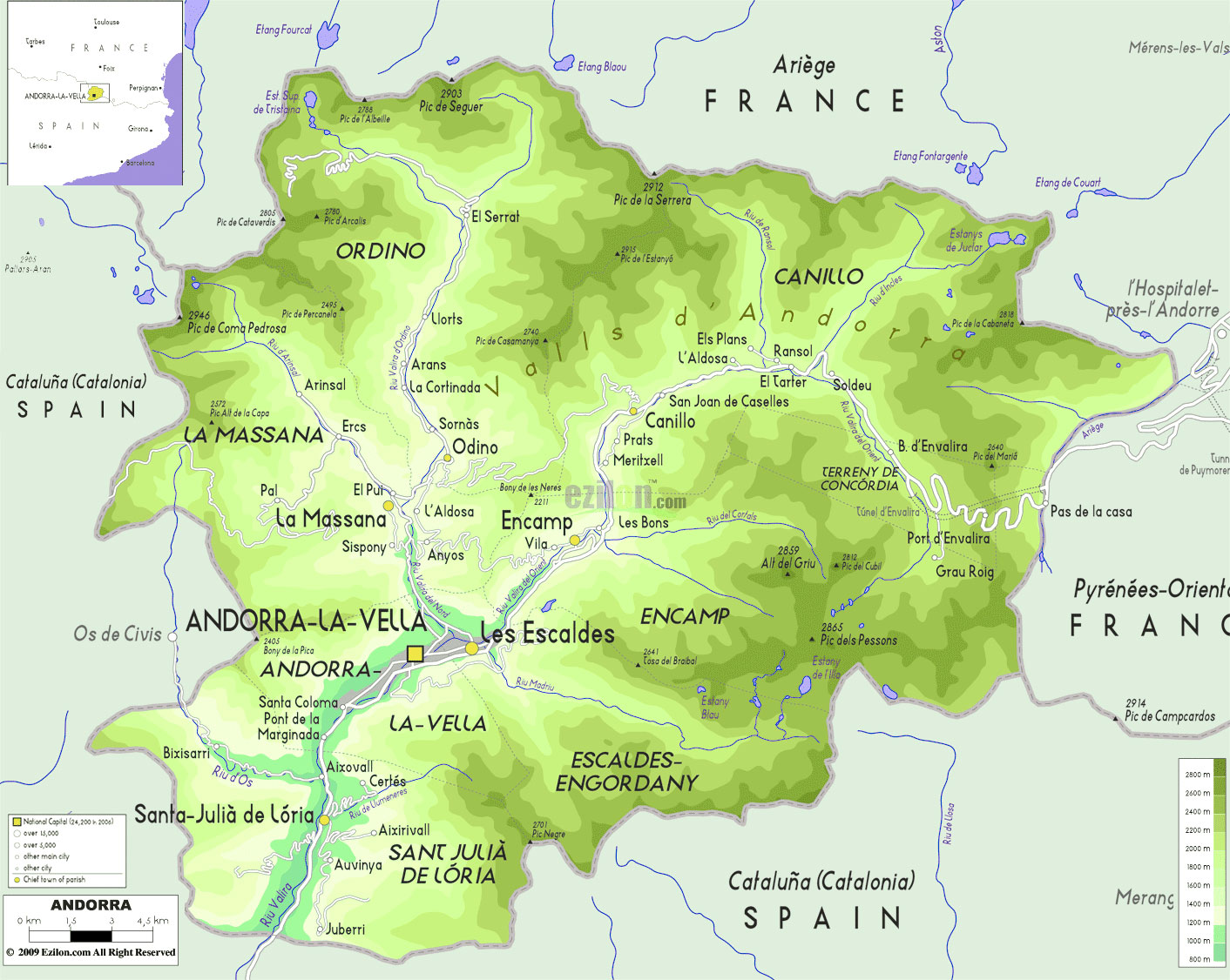 Gambar Peta Letak Negara Andora