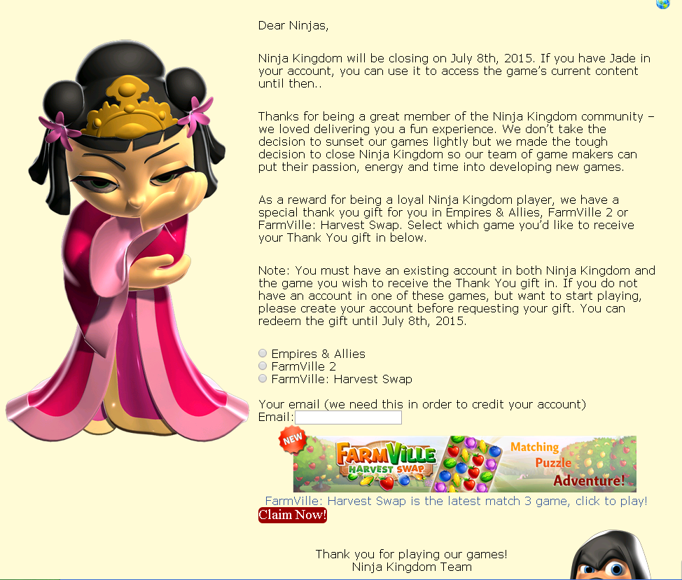 All Zynga Games News Ninja Kingdom Will Be Closing On July 7th 2015