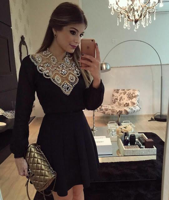 Black V neck decorated Party Dress