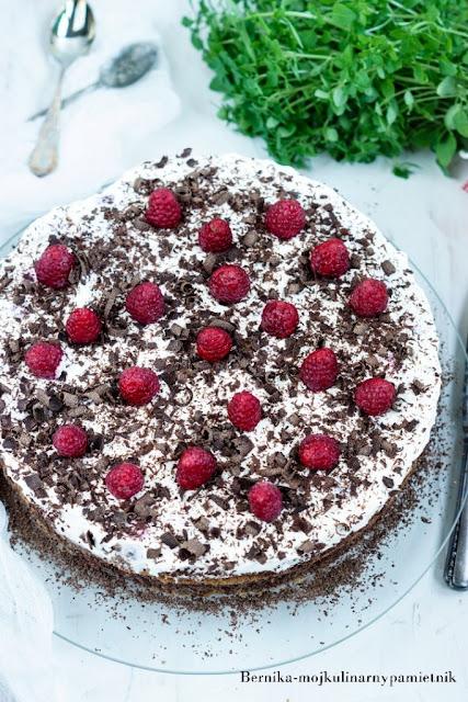 tort, czekolada, maliny, deser, ciasto, mascarpone, bernika, kulinarny pamietnik