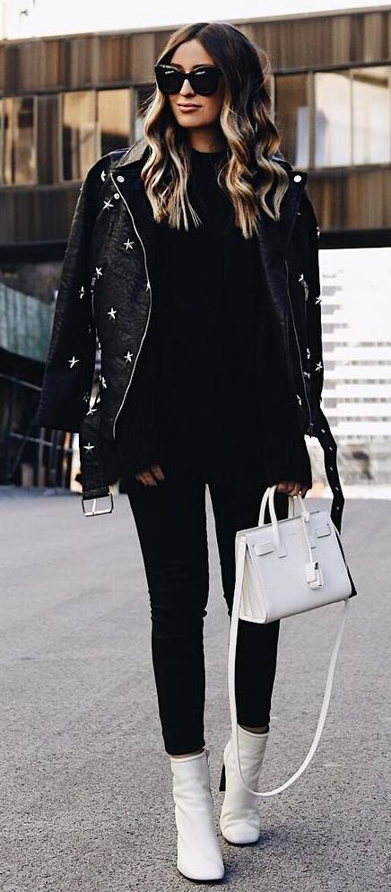 white and balck / leather jacket + bag + boots + skinnies + sweater