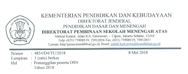 Finalis OSN Tingkat Nasional Jenjang SMA 2018