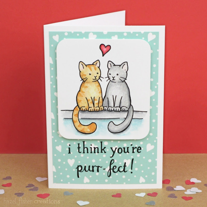 I think your're Purr-fect cat Valentine's Day card, made with digital stamps and scrapbooking papers by hazelfishercreations