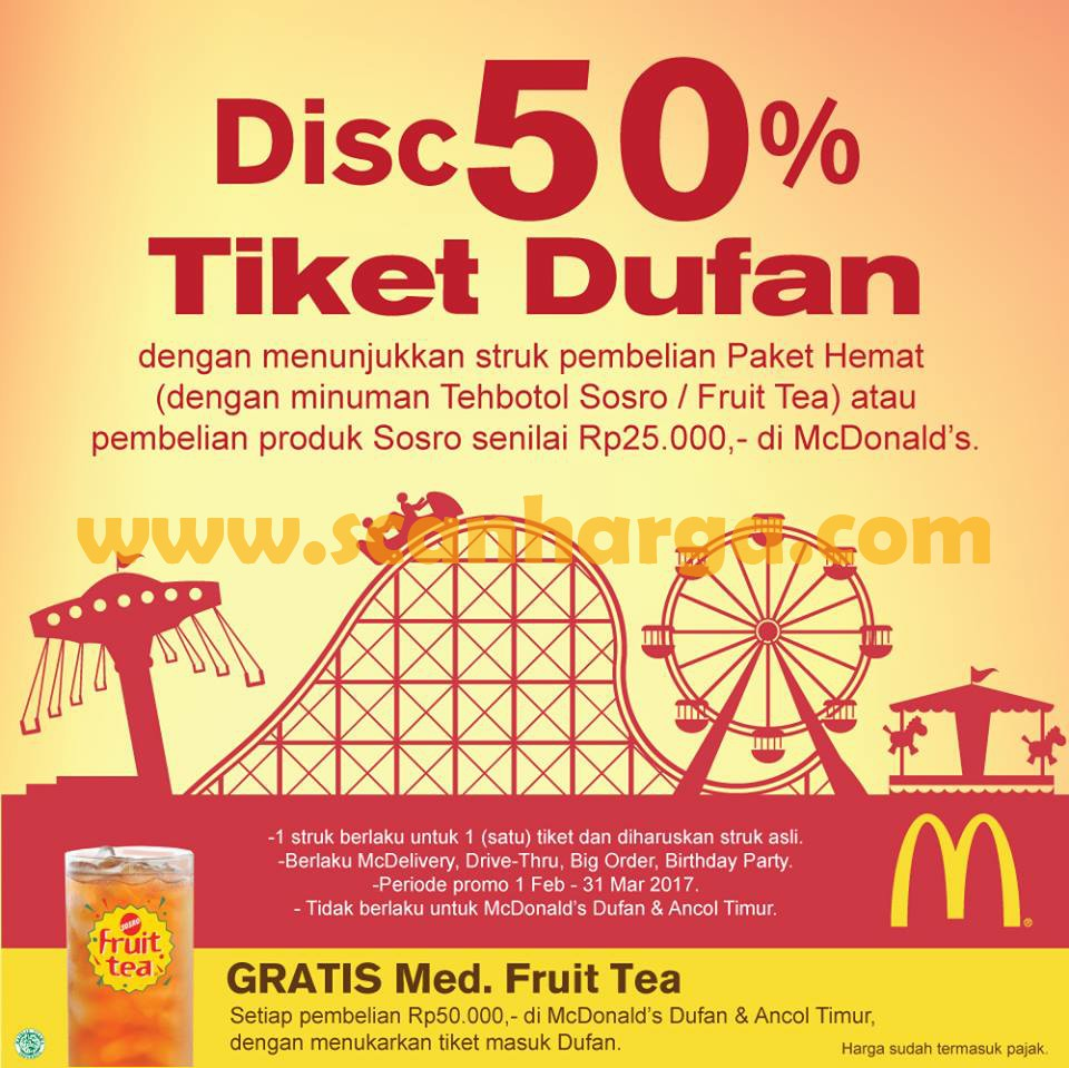Promo McDonalds Terbaru Beli Paket Hemat Di McD Dapat Diskon 50% Tiket Dufan