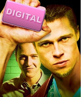 A poster for the movie 'fight club', with Brad Pitt holding a bar of soap that says 'digital'