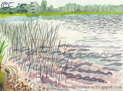 watercolor landscape lakeside