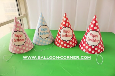Topi Ulang Tahun Kerucut Polkadot HAPPY BIRTHDAY