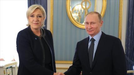 Le Pen condena sanciones, amenazas y chantaje de UE contra Rusia