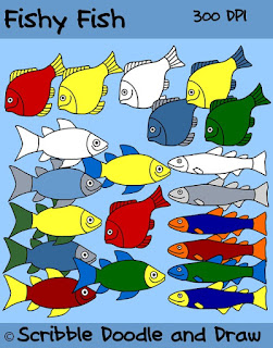 Clip art of colored and black and white line images of fish