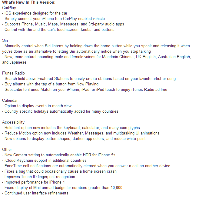 iOS 7.1 Last IPSW Firmwares Features and official Changelog