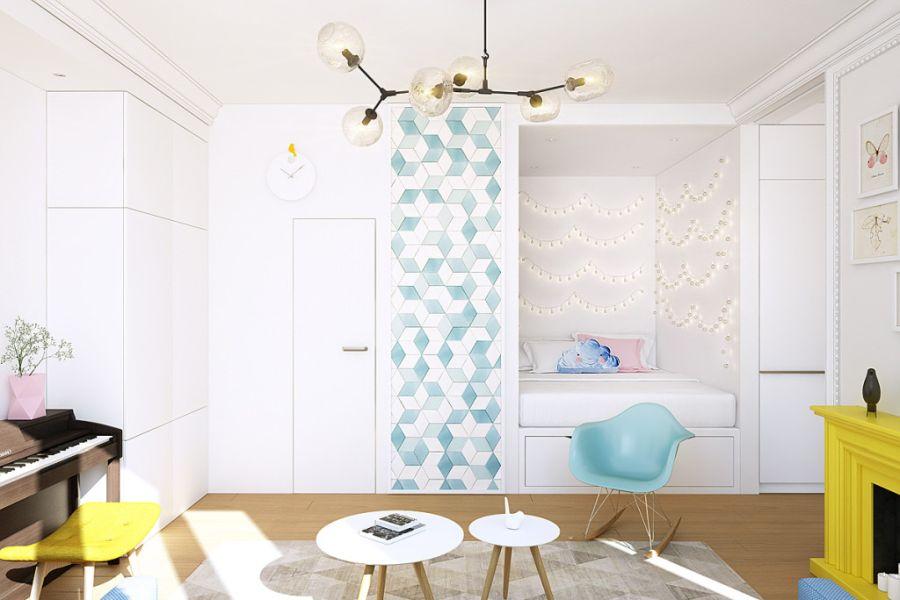 wystrój wnętrz, wnętrza, urządzanie mieszkania, dom, home decor, dekoracje, aranżacje, małe wnętrza, małe mieszkanie, styl nowoczesny, modern style, kolorowe dodatki, color decor, pastelowe kolory, salon, living room, kuchnia, kitchen, łóżko we wnęce