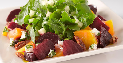 Spring Salad with Beets, Prosciutto & Creamy Onion Dressing , 4 smart points