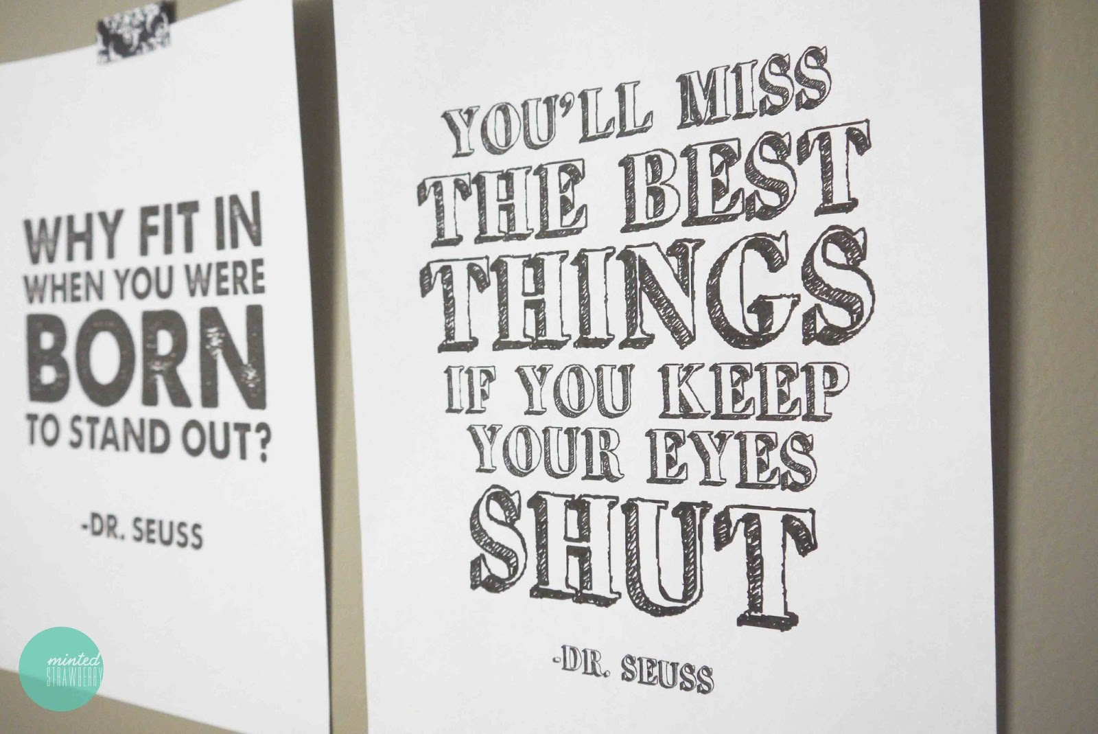 image about Free Printable Dr Seuss Quotes named Absolutely free Printable: Dr. Seuss Quotation Posters - Minted Strawberry